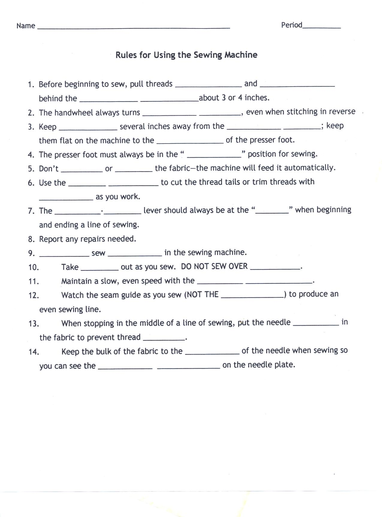 worksheet Sewing Worksheets sewing rules attachments