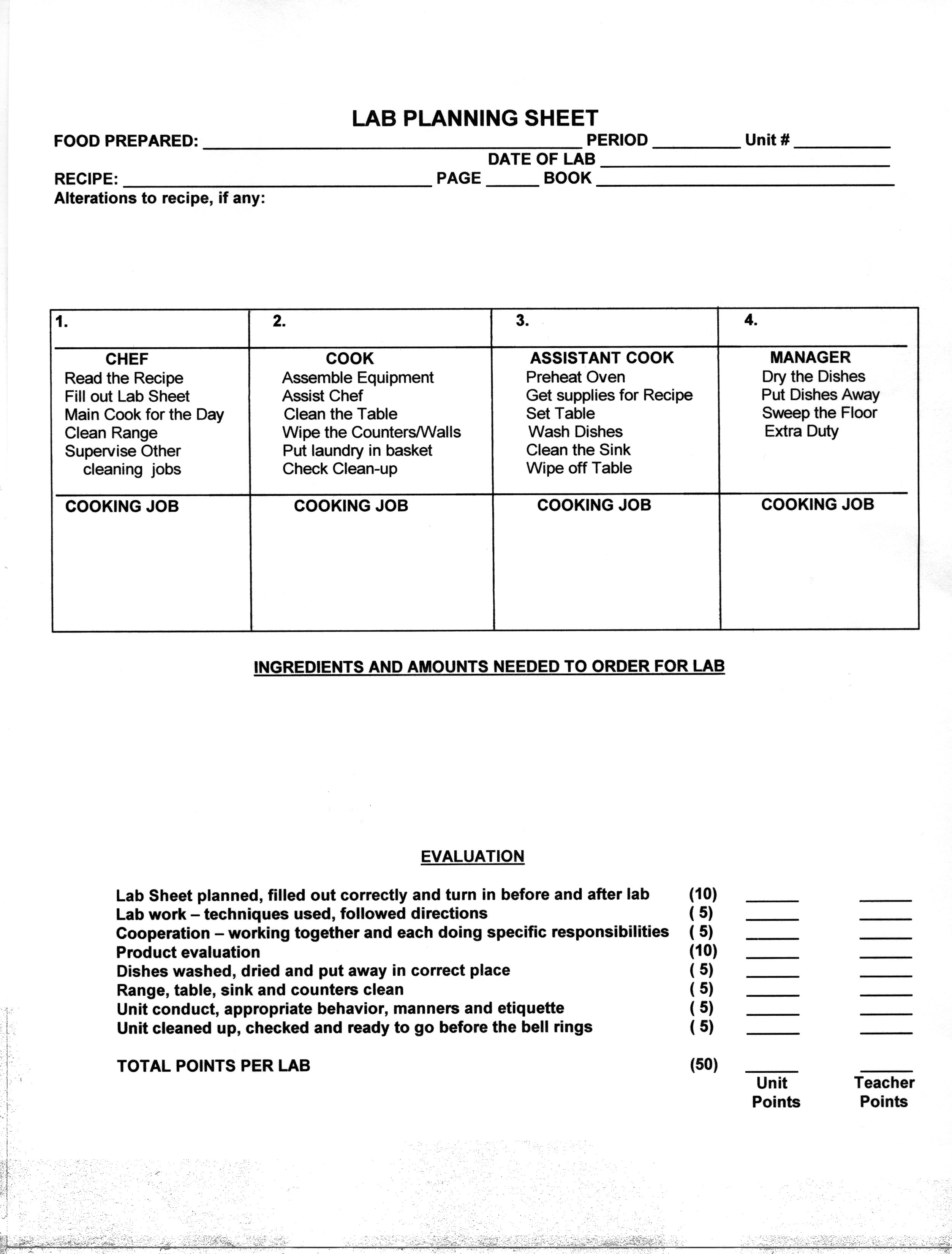 Yeast Breads Refrigerator Rolls Evaluation and Lab – Army Trips Worksheet