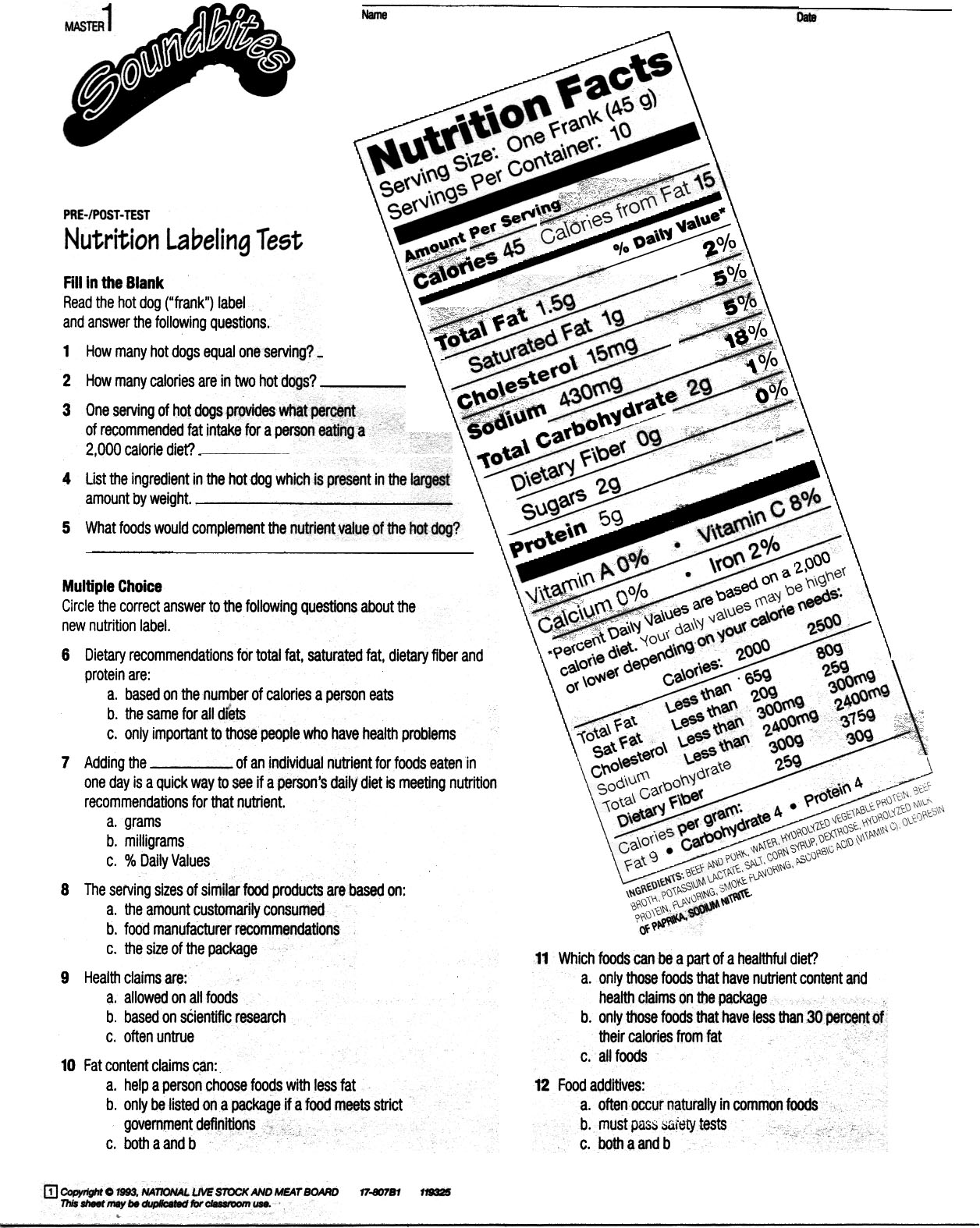 Worksheets Reading Labels Worksheet consumerism food labeling pre test nutrition jpg