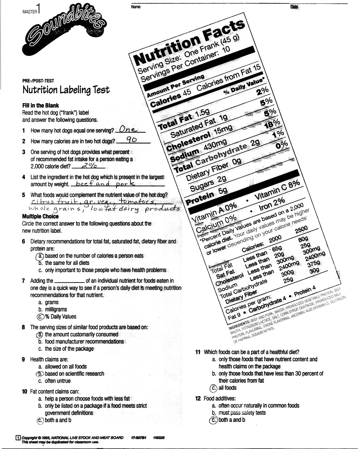 Printables Food Label Worksheets consumerism food labeling pre test nutrition key jpg